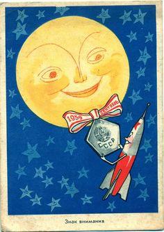 1959 Russia 1st Soviet Rocket Sputnik to Moon Vintage Postcard Artist Semenov   eBay