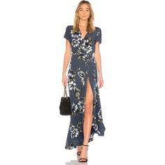 Yumi Kim Spring Street Maxi Dress (€250) ❤ liked on Polyvore featuring dresses, maxi dress, silk maxi dresses, wrap front dress, yumi kim dress and maxi length dresses