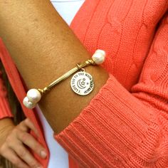 I Love You to the Moon and Back Pretty Pearl Wire Wrapped Bangle