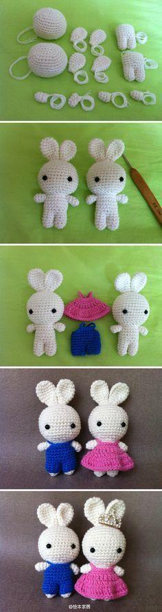 Crochet amigurumi bunnies