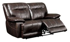 Furniture of America Fulton Brown Deep Tufted Faux Leather Reclining Love Seat