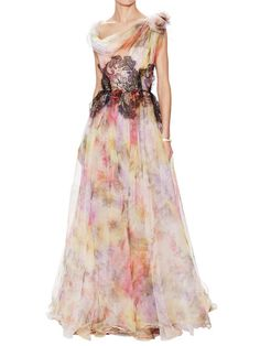 Watercolor Print Gown with Floral Lace Bodice by Marchesa Couture at Gilt