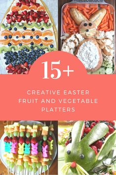Which one of these super creative Easter fruit and veggie trays will you bring to the party? Easter bunnies, Easter eggs and more! Easter Bunny Fruit Tray, Easter Dishes, Easter Snacks, Easter Brunch, Easter Recipes, Easter Eggs, Easter Appetizers, Easter Food, Easter Party