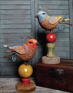 """The colorful folk song birds shown here mix a handmade appeal with vintage style to create a unique, artful statement. Paper Clay, Clay Art, Paper Mache Animals, Cartoon Drawings, Art Drawings, Bird Crafts, Bird Sculpture, Assemblage Art, Recycled Art"