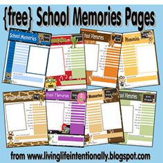 free homeschool memory pages