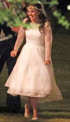 Natalie Portman at her Aug. 4 wedding in a Rodarte gown (Photo by FameFlynet)