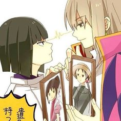 Guys showing off their girls. I love how serious Haku is lol Howl&Sophie and Haku&Chihiro.