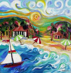 Beach Sailboat Original painting 18 x 18 art by Elaine Cory on Etsy, $265.00