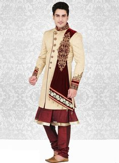cream indowestern sherwani with dupatta stuck Mens Sherwani, Wedding Sherwani, Indian Groom Wear, Indian Man, Whatsapp Messenger, Groom Style, Men's Grooming, Men Dress, Suits