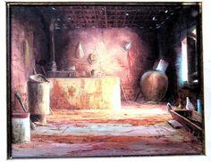 TÁCITO IBIAPINA, Fogão de Lenha, OST (óleo sobre tela), assinado no CIE (canto inferior esquerdo), datado 1994, autenticado e intitulado no verso, (Tácito Fontes de Moura Ibiapina, Picos, Pi, 1950, pintor autodidata, seu estilo é conhecido por alguns como impressionismo rural, devido a luminosidade empregada em suas obras), medindo 50x40cm, moldura 73x63cm.