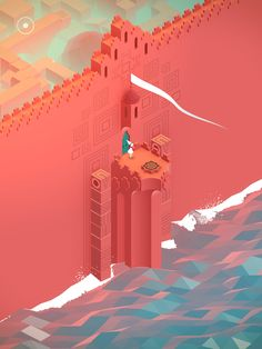 A scene from Monument Valley, a video game that uses m.c. escher style impossible objects in its environments.