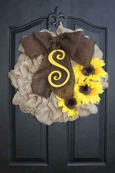 Summer Wreath Burlap wreath Monogram Wreath by OurSentiments
