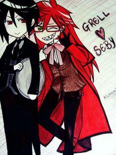 Grell and Sebastian | Grell e Sebastian by cahhwaii on deviantART