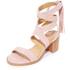 Splendid Janet City Sandals (175 CAD) ❤ liked on Polyvore featuring shoes, sandals, blush, leather ankle strap sandals, wood heel sandals, wrap around sandals, chunky wooden heel sandals and wrap shoes