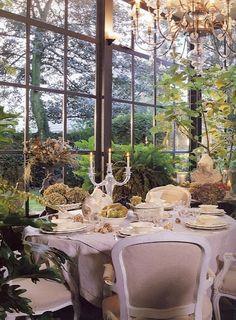dining area with beautiful window