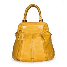 Balloon Zip Brogue yellow leather tote bag by TSM The Swedish Model