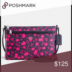 "COACH EAST/WEST CROSSBODY WITH POP UP POUCH COACH EAST/WEST CROSSBODY WITH POP UP POUCH IN PRAIRIE CALICO PRINT COATED CANVAS. Printed coated canvas, color is midnight/pink Ruby.  Inside open pocket, outside slip pocket, zip top closure, removable pouch. 10-1/2"" x 6-3/4"" X 1-1/2"". NEW WITH TAGS!  🚫NO TRADES! Coach Bags Crossbody Bags"