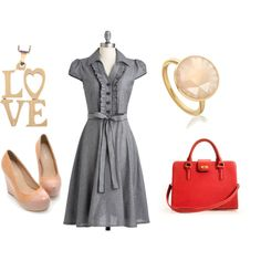 chambray valentine by southsidesara on Polyvore featuring polyvore fashion style J.Crew Astley Clarke wedge shoes red briefcase chambray love