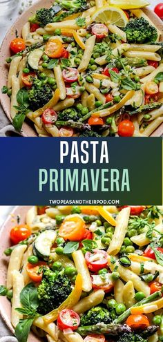 This Pasta Primavera is a classic pasta dish recipe with a wonderful mixture of colorful vegetables and a simple lemon Parmesan cream sauce. It is light refreshing and healthy! A great meal for weeknights entertaining or even lunch this spring and summer! Light Pasta Recipes, Healthy Pasta Recipes, Healthy Pastas, Vegetarian Recipes, Pasta Sauce Recipe Vegetarian, Vegetarian Pasta Dishes, Salad Recipes, Fusilli, Light Pasta Sauce