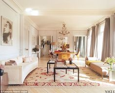 So given the choice, do I want to be:  1) a gorgeous amazonian fashion designer; 2) the lover of a beloved and still sexy rock star; or 3) living in their drool-worthy apartment on the Left Bank?  Of course I choose the apartment! L'Wren Scott did all the design for her and Mick Jagger.