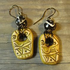 Rustic Boho Gypsy Polymer Clay Rectangular Green Wire Wrapped Tribal Earrings by SpontaneousSoul One of a kind unique rustic boho jewelry free spirit mixed media jewelry