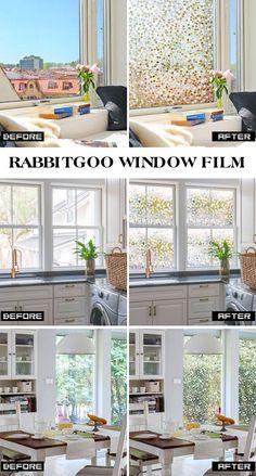 GLOBEGOU CO Rabbitgoo Privacy Window Film Static Cling Frosted Glass Film Window Frosting Film No Glue Window Sticker UV Protection White Stripe for Home Office Living Room or Kitchen 17.5 x 59 LTD 44.5 x 150cm