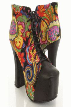 Black Multi Printed Fabric Faux Leather Closed Toe Booties