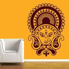 CW Decor Maa Durga Wall Sticker Brown