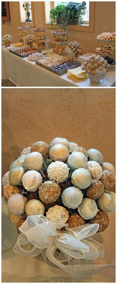 I love the cake pop idea. Great for birthday parties, holiday's, or parents anni… I love the cake pop idea. Great for birthday parties, holiday's, or parents anniversary party? (Wish I'd have done this at my wedding. Parents Anniversary, 25th Wedding Anniversary, Anniversary Parties, Anniversary Ideas, Cake Pop Bouquet, Dessert Buffet, Dessert Bars, Wedding Desserts, Wedding Cakes