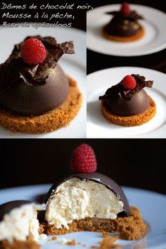 Domes of Dark Chocolate Peach Mousse and Speculoos Fancy Desserts, Köstliche Desserts, Delicious Desserts, Ramadan Desserts, Sweet Recipes, Cake Recipes, Dessert Recipes, Peach Mousse, Food Tags