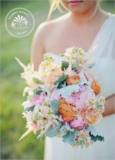 pastel spring bouquet recipe: Pastel Spring Wedding Bouquet ingredients: 8 astilbe, 6 orange ranunculus, 6 pink ranunculus, 6 peach stock, 3 'sarah bernhart' peonies, 6 'versillia' roses, 5 flat leaf dusty miller.