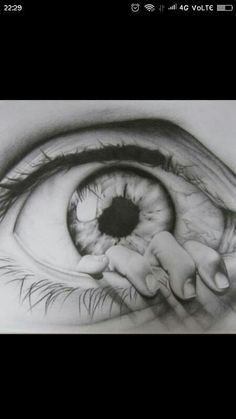 Drawing creates opportunities to change parts of an image, or combine two or more images to create something different. This drawing looks realistic but it is taken from studying two images, one of the eye and one of the hand. Eye Pencil Drawing, Realistic Eye Drawing, Drawing Eyes, 3d Drawings, Pencil Drawings, Fairy Drawings, Cool Sketches, Drawing Sketches, Tattoo Mandala Feminina