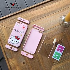 >> Click to Buy << New Front Clear Glass Film Full Body Coverage Of 360 Degree Cut Hello Kitty Cat Hard PC Phone Cover Case for iphone 6 6S 7 plus #Affiliate