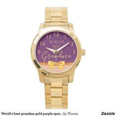 World's best grandma gold purple sparkle rose gold watch. Christmas gift for your grandmother. Purple Sparkle, Purple Gold, Vintage Leather, Vintage Men, Mother Of The Groom Gifts, Stylish Watches, Rose Gold Color, Michael Kors Watch, Gold Watch