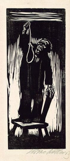After the end of the Great War, Germany experienced huge economic difficulties. Artist Kathe Kollwitz, a German native, saw the desperation and hopelessness prevalent in her fellow Germans.  Woodcut, The Last Thing,