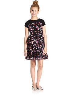 DKNY - Girl's Floral Chiffon Dress - Saks.com