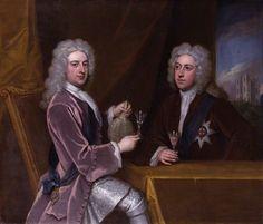 Thomas Pelham-Holles, 1st Duke of Newcastle-under-Lyne; Henry Clinton, 7th Earl of Lincoln by Sir Godfrey Kneller, Bt oil on canvas, circa 1721