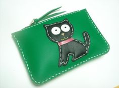 MoMo the cat leather purse  Green and Black  by leatherprince, $43.50