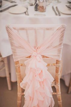 Blush pink chiffon ruffle hoods. I can also arrange hire of the chiavari chairs if you prefer this look rather than lycra covers. #PinkWeddingIdeas