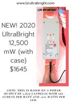 Specifications: . 12,500 milliwatts of Light Therapy Power . 850 nm infrared producing 6,000 milliwatts . 660 nm visible red producing 6,500 milliwatts . Note: This is based on a power output of 5,850 candelas with 100 lumens per watt and .021 watts per LED. . Power density: 365mW/cm2 . Weight: 8 ounces (220g) $200 off any UltraBright! To get this special price and save $200 you must enter coupon code: GLOW  #lzrultrabright #therapy #anxiety #psychology #depression Led Therapy, Light Therapy, Coupon Codes, Anxiety, Depression, Psychology, Glow, Coding, Note