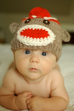 Hand knitted sock monkey hat  $30.00