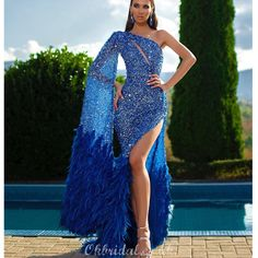 Luxury One Shoulder Sequin Mermaid Long Sleeve Sexy Side Slit Long Prom Dress - Night Out Dresses - Ideas of Night Out Dresses Luxury Wedding Dress, Luxury Dress, Wedding Dresses, Bridesmaid Gowns, Wedding Veil, Feather Prom Dress, Dress Prom, Godmother Dress, Fairy Godmother
