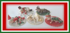 - Christmas Babies-  used a mold for the babies then made fondant outfits for each one: Santa, Snowman, Reindeer, Elf and Christmas dress.