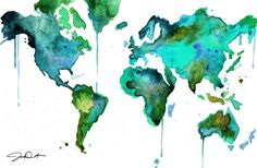 """""""Watercolor World Map No. 6."""" by Jessica Durrant.  Her work is gorgeous.  WILL be getting this for my living room."""