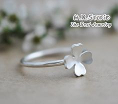Silver Lucky Clover Ring, Handmade Silver Ring, Handmade Sterling Silver Jewelry