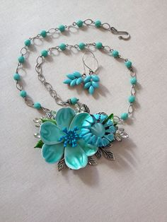 529300313c8f Vintage aqua turquoise enamel flower by ChicMaddiesBoutique Turquoise  Glass