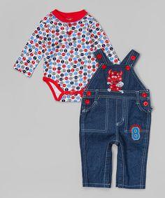 Look at this #zulilyfind! Blue Monster Overalls & Red Bodysuit - Infant by Duck Duck Goose #zulilyfinds