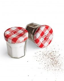 Smart DIY: Jam jars (we recognize these from Bon Maman) make fun salt and pepper shakers.
