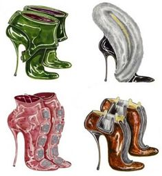 Manolo Blahnik sketches.  I've always dreamed of having some framed in my (also a dream) huge walk in closet/room.