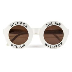 Wildfox Women's Bel Air Sunglasses - Pearl White (790 GTQ) ❤ liked on Polyvore featuring accessories, eyewear, sunglasses, glasses, fillers, lightweight sunglasses, wildfox sunglasses, pearl glasses, round frame glasses and round frame sunglasses